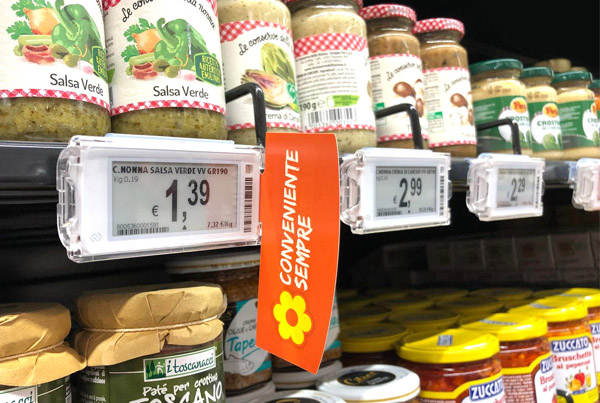 Nicolis Project | in-store digital communication etichette-elettroniche-supermercato-conad Conad installa le etichette elettroniche e bsystem3 a Rimini e regala ai clienti un'esperienza d'acquisto smart