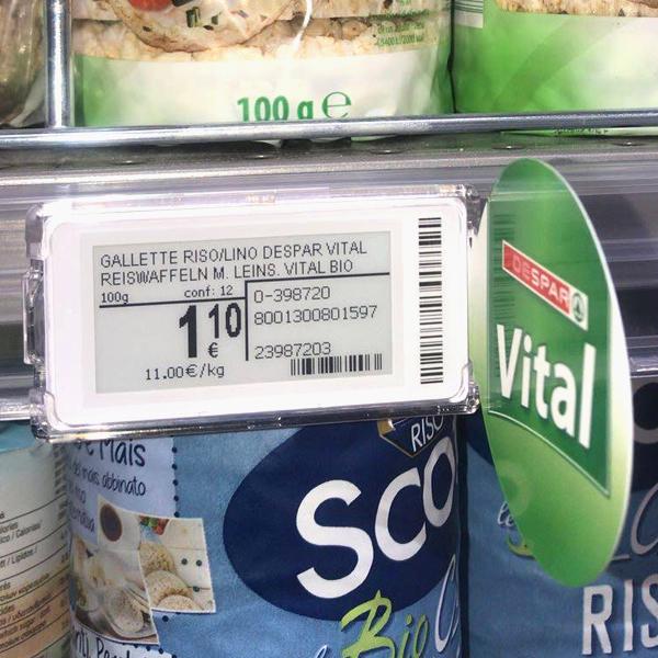 Nicolis Project | in-store digital communication etichette-elettroniche-eurospar-4 Electronic shelf labels and bsystem3 improve communication and productivity at Eurospar Bardolino
